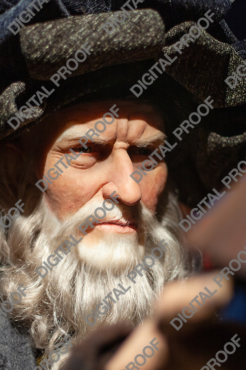 Portrait of Leonardo da Vinci wax figure in display museum Grevin in Paris, France