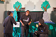 Lungelo sings as Vanda the vulture during a rehearsal of 'No Monkey Business', an AREPP: Theatre for Life production providing interactive social life skills education to schoolchildren through theatre productions. They are based in Johannesburg, South Africa and are about to go on tour for 3 months doing performances everyday at schools across the country.