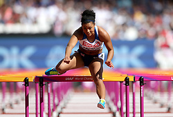 Great Britain's Alicia Barrett competes in the women's 100m hurdles during day eight of the 2017 IAAF World Championships at the London Stadium.