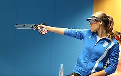 05.09.2015, Olympia Schiessanlage Hochbrueck, Muenchen, GER, ISSF World Cup 2015, Gewehr, Pistole, Damen, 10 Meter Luftpistole, im Bild Anna Korakaki (GRE) // during the women's 10M air Pistol competition of the 2015 ISSF World Cup at the Olympia Schiessanlage Hochbrueck in Muenchen, Germany on 2015/09/05. EXPA Pictures © 2015, PhotoCredit: EXPA/ Eibner-Pressefoto/ Wuest<br /> <br /> *****ATTENTION - OUT of GER*****