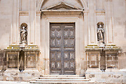 Front elevation and steps of Baroque 16th Century Duomo Cathedral of Santa Maria la Nova in Chiaramonte Gulfi, Sicily