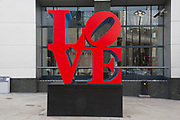 "Love sculpture artwork in the City of London, UK. Robert Indiana's famous ""Love"" sculpture stands at the corner of 99 Bishopsgate – the site of the 1993 IRA bomb 20 years ago."