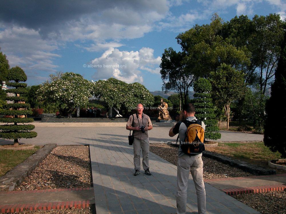 Vietnam, Dien Bien Phu :  souvenir picture of a french legionaire in the  war cemetery...