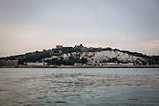 The coastline of Dover Harbour and The White Cliffs of Dover viewed from the Dover Strait, The English Channel, Kent, England, United Kingdom.  (photo by Andrew Aitchison / In pictures via Getty Images)