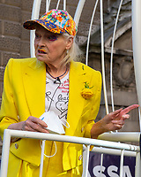 Dame Vivienne Westwood outside the Old Bailey in a cage supporting Julian Assange 21st Jul 2020 photo by Brian Jordan
