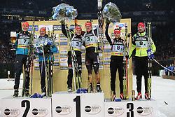 28.12.2013, Veltins Arena, Gelsenkirchen, GER, IBU Biathlon, Biathlon World Team Challenge 2013, im Bild Siegerehrung, Price giving<br /> <br /> vl: Olena Pydrushna (Ukraine), Andriy Deryzemlya (Ukraine), Laura Dahlmeier (Deutschland / Germany), Florian Graf (Deutschland / Germany), Teja Gregorin (Slowenien / Slowenia), Jakov Fak (Slowenien / Slowenia) // during the IBU Biathlon World Team Challenge 2013 at the Veltins Arena in Gelsenkirchen, Germany on 2013/12/28. EXPA Pictures © 2013, PhotoCredit: EXPA/ Eibner-Pressefoto/ Schueler<br /> <br /> *****ATTENTION - OUT of GER*****