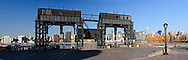 Gantry Plaza State Park, Long Island City, Queens, NYC, NY, restored gantries