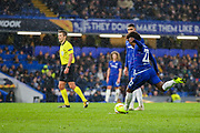 Chelsea midfielder Willian (22) takes a free kick during the Champions League group stage match between Chelsea and PAOK Salonica at Stamford Bridge, London, England on 29 November 2018.
