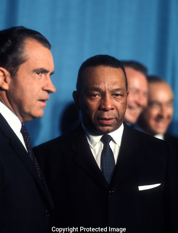 .Mayor Walter Washington and  President Nixon on the night that President Nixon announced his selects for his cabinet in January 1969....Photgraph by Dennis Brack BS B13