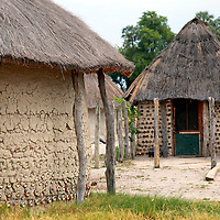 Africa, Botswana, Okavango Delta. Village homes and structures in the Okavango Delta.