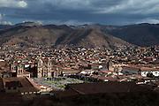 Looking down upon the Plaza de Armas. Cusco, Peru, South America