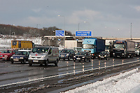 snow storms hit kent and the m23 motorway in december 2009