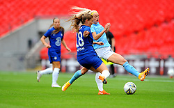 Chloe Kelly of Manchester City Women is challenged by Maren Mjelde of Chelsea Women- Mandatory by-line: Nizaam Jones/JMP - 29/08/2020 - FOOTBALL - Wembley Stadium - London, England - Chelsea v Manchester City - FA Women's Community Shield