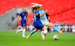 Chloe Kelly of Manchester City Women is challenged by Maren Mjelde of Chelsea Women- Mandatory by-line: Nizaam Jones/JMP - 29/08/2020 - FOOTBALL - Wembley Stadium - London, England - Chelsea v Manchester City - FA Women's Community Shield