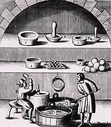 Assaying of silver: 1&3, moulds for making cupels: 2&4, the cupels: 8, man moulding cupels. From 1683 English edition of Lazarus Ercker  'Beschreibung allerfurnemisten mineralischen Ertzt- und Berckwercksarten' originally published in Prague in 1574. Copperplate engraving.