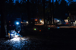 January 19, 2019 - Southern Pines, North Carolina, US - Jan. 19, 2019 - Southern Pines N.C., USA - Ultra marathoners and their support teams set up their aid station early in the morning before the start of the 10th Annual Weymouth Woods 100km ultra marathon at the Weymouth Woods Nature Preserve. Runners needed to complete 14 laps of the 4.47 mile course for 62.58 miles in under the 20-hour time allotment. (Credit Image: © Timothy L. Hale/ZUMA Wire)
