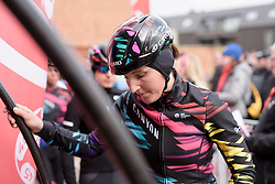 Lisa Brennauer makes her wau to sign in at the 127 km Omloop van het Hageland on February 26th 2017, starting and finishing in Tielt Winge, Belgium. (Photo by Sean Robinson/Velofocus)