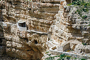Hermit's caves at Saint Sabbas, known in Syriac as Mar Saba is a Greek Orthodox monastery overlooking the Kidron Valley In the past hermits dwelt in these caves for long periods of meditation and seclusion