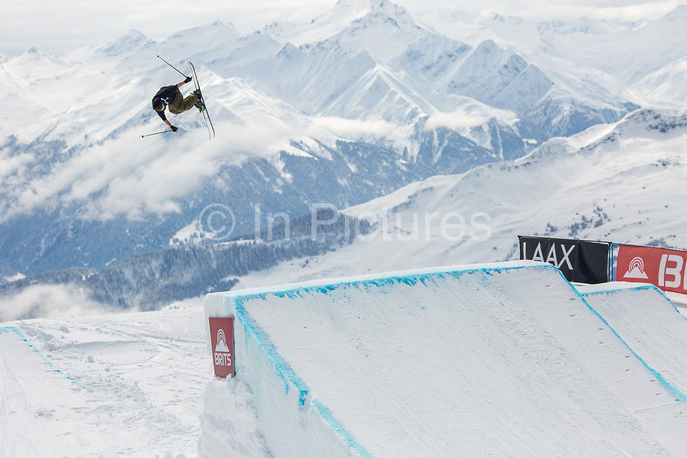 Team GB and Olympic freeskier James Woodsy Woods at The British Snowboard and Freeski Championships on the 5th April 2019 in Laax ski resort in Switzerland.