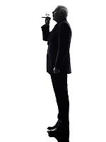 One Caucasian Senior Business Man Smoking Electronic E-cigarette Silhouette White Background
