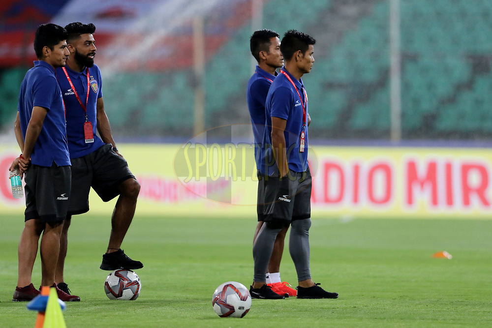 Chennaiyin FC players before the start of the match 27 of the Hero Indian Super League 2018 ( ISL ) between Chennaiyin FC and Mumbai City FC  held at the Jawaharlal Nehru Stadium, Chennai, India on the 3rd November 2018<br /> <br /> Photo by: Vipin Pawar /SPORTZPICS for ISL