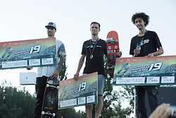 Osijek, May 31, 2018  Timotej Lampe Ignjic of Slovenia, silver medalist Antonio Pekovic of Croatia and bronze medalist Zsolt Karkossiak of Hungary pose during the awarding ceremony for the Skate PRO Finals at the 2018 Pannonian Challenge in Osijek, Croatia, on May 31, 2018. Pannonian Challenge is carrying the title of the biggest extreme sports events in the region. (Credit Image: © Dubravka Petric/Xinhua/Xinhua via ZUMA Wire)