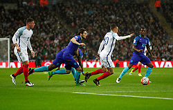 Jamie Vardy (2nd R) of England competes during the International Friendly Match between England and the Netherlands at Wembley Stadium in London, Britain, on March 29, 2016. England lost 1-2. EXPA Pictures © 2016, PhotoCredit: EXPA/ Photoshot/ Han Yan<br /> <br /> *****ATTENTION - for AUT, SLO, CRO, SRB, BIH, MAZ, SUI only*****