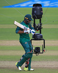 Spidercam follows Bangladesh's Mahmudullah during the ICC Champions Trophy, Group A match at Sophia Gardens, Cardiff. PRESS ASSOCIATION Photo. Picture date: Friday June 9, 2017. See PA story CRICKET India. Photo credit should read: Nigel French/PA Wire. RESTRICTIONS: Editorial use only. No commercial use without prior written consent of the ECB. Still image use only. No moving images to emulate broadcast. No removing or obscuring of sponsor logos.