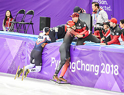 February 17, 2018 - Pyeongchang, Gangwon, South Korea - Samuel Girard of Canada and John-Henry Krueger of United States celebrating their medals in 1000 meter speed skating  at Gangneung Ice Arena, Gangneung, South Korea on 17 February 2018. (Credit Image: © Ulrik Pedersen/NurPhoto via ZUMA Press)