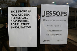© Licensed to London News Pictures. 15/01/2013.Jessops in administration Today (15.01.2013). Photography retailer Jessops goes bust, the music giant HMV has also collapsed..Jessops Store in Bromley High Street,South East London which is opposite HMV in the high street..Photo credit : Grant Falvey/LNP