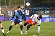 Wycombe Wanderers forward Anis Mehmeti (33) battles for possession with Luton Town midfielder Pelly-Ruddock Mpanzu (17) during the EFL Sky Bet Championship match between Wycombe Wanderers and Luton Town at Adams Park, High Wycombe, England on 10 April 2021.