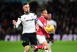 Bobby Reid of Bristol City battles for the ball with  Richard Keogh of Derby County  - Mandatory by-line: Joe Meredith/JMP - 19/01/2018 - FOOTBALL - Pride Park Stadium - Derby, England - Derby County v Bristol City - Sky Bet Championship