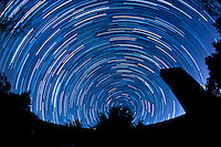 North View Star Trails. Summer Night in New Jersey. Image taken with a Nikon D3 and 16 mm f/2.8 mm Fisheye lens (ISO 400, 16 mm, f/4, 59 sec). Composite of 88 images combined using the Startrails program.