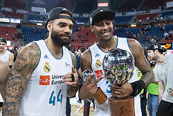 June 19, 2018 - Vitoria, Spain - Real Madrid Jeffery Taylor and Trey Thompkins celebrating the championship during Liga Endesa Finals match (4th game) between Kirolbet Baskonia and Real Madrid at Fernando Buesa Arena in Vitoria, Spain. June 19, 2018. (Credit Image: © Coolmedia/NurPhoto via ZUMA Press)