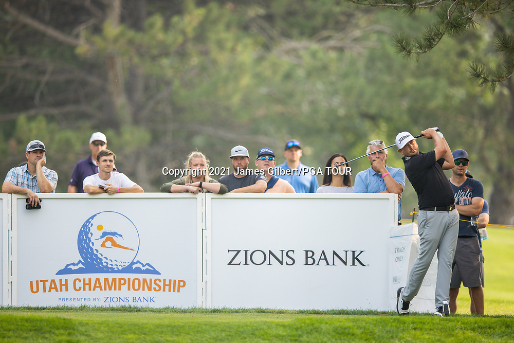 FARMINGTON, UT - AUGUST 08: Joshua Creel plays his shot from the 17th tee during the final round of the Utah Championship presented by Zions Bank at Oakridge Country Club on August 8, 2021 in Farmington, Utah. (Photo by James Gilbert/PGA TOUR via Getty Images)