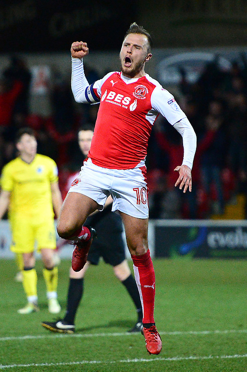 Fleetwood Town's David Ball celebrates scoring his sides third goal <br /> <br /> Photographer Richard Martin-Roberts/CameraSport<br /> <br /> The EFL Sky Bet Championship - Fleetwood Town v Bristol Rovers - Saturday 14th January 2017 - Highbury Stadium - Fleetwood<br /> <br /> World Copyright © 2017 CameraSport. All rights reserved. 43 Linden Ave. Countesthorpe. Leicester. England. LE8 5PG - Tel: +44 (0) 116 277 4147 - admin@camerasport.com - www.camerasport.com