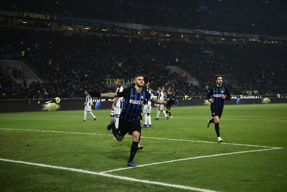 Forward Mauro Icardi (Inter) celebrates after scoring a goal during the Serie A football match, Inter Milan vs Udinese Calcio at San Siro Meazza Stadium in Milan, Italy on 15 December 2018