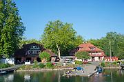 "Lucerne, SWITZERLAND, 12th July 2018, Friday  View,  Seeclub ""Luzern"", Boathouse,left and Reuss Ruderclub Boathouse and boating pontoons,  ""Lake Lucerne',  Photographer, Karon PHILLIPS,"