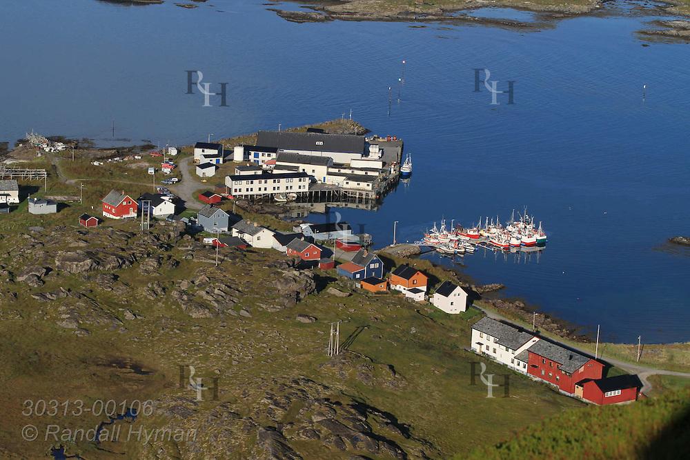 Mountain-top view of town of Ingoy on Ingoya island, Finnmark, Norway.