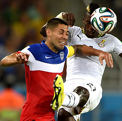 June 16, 2014  Natal, Brazil. Ghana's John Boye vies with Clint Dempsey of U.S. during a Group G match between Ghana and U.S. of 2014 FIFA World Cup at the Estadio das Dunas Stadium in Natal, Brazil. (Credit Image: © Xinhua via ZUMA Wire)