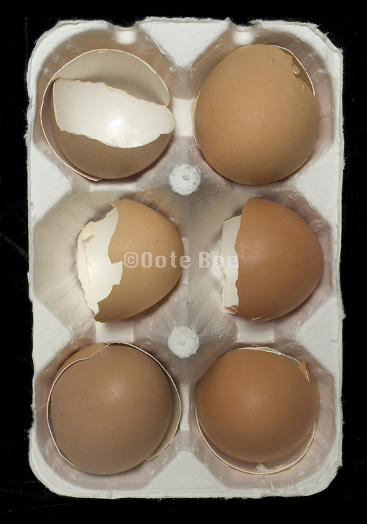 carton egg container with broken eggshells