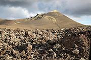 Volcanic landscape Parque Nacional de Timanfaya, national park, Lanzarote, Canary Islands, Spain - Mount Pico Partido