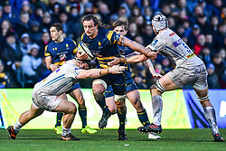 Anton Bresler of Worcester Warriors is tackled by Moray Low and Toby Salmon of Exeter Chiefs - Mandatory by-line: Craig Thomas/JMP - 27/01/2018 - RUGBY - Sixways Stadium - Worcester, England - Worcester Warriors v Exeter Chiefs - Anglo Welsh Cup