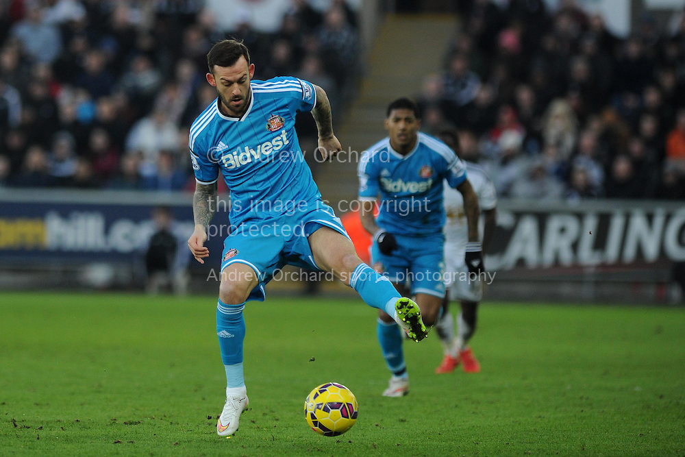 Steven Fletcher of Sunderland in action.  Barclays premier league match, Swansea city v Sunderland at the Liberty stadium in Swansea, South Wales on Saturday 7th Feb 2015.<br /> pic by Andrew Orchard, Andrew Orchard sports photography.