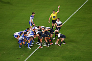 General view of scrum.<br /> North Queensland Cowboys v Canterbury-Bankstown Bulldogs, Round 2 of the Telstra Premiership Rugby League season on Thursday 19th March 2020.<br /> Copyright photo: © NRL Photos 2020