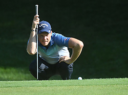 August 9, 2018 - St. Louis, Missouri, U.S. - ST. LOUIS, MO - AUGUST 09: Danny Gillett lines up a putt on the #15 green during the first round of the PGA Championship on August 09, 2018, at Bellerive Country Club, St. Louis, MO.  (Photo by Keith Gillett/Icon Sportswire) (Credit Image: © Keith Gillett/Icon SMI via ZUMA Press)
