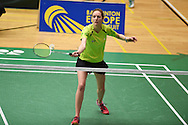 Carissa Turner of Wales during her Womens singles match against Linda Zetchiri .Wales international badminton championships 2014 at the Welsh institute of Sport, Sophia Gardens in Cardiff, South Wales on Friday 28th November 2014<br /> pic by Andrew Orchard, Andrew Orchard sports photography.
