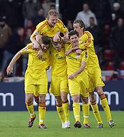 Foto Omega/GPA<br /> Eindhoven 03/04/2007<br /> Champions League 2006-2007<br /> Psv Eindhoven-Liverpool 0-3<br /> Nella foto John Arne Riise  festeggiato dai compagni dopo il gol