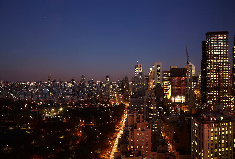 Night view of Central Park and Central Park South from 25 Columbus Circle #54C
