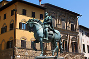 Bronze, equestrian statue of Cosimo I, Duke of Florence, and Grand Duke of Tuscany. Made by sculptor Giambologna circa 1594. Situated in the Piazza della Signoria (a square in front of the Palazzo Vecchio) Florence, Italy.
